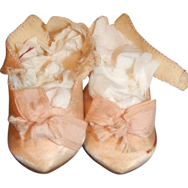 Antique Pink Silk Jumeau Doll Shoes