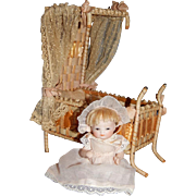 """4"""" All Bisque Bye Lo Baby with Pink Shoes and Canape Bed"""