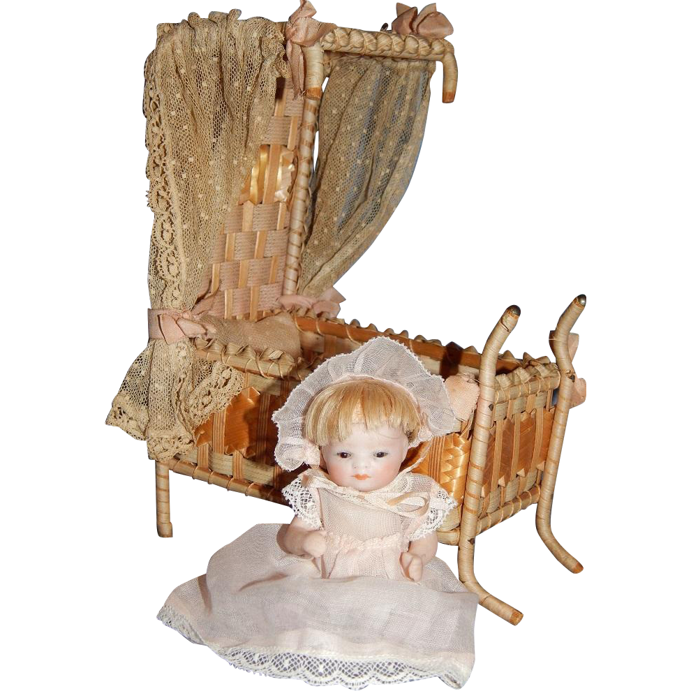 "4"" All Bisque Bye Lo Baby with Pink Shoes and Canape Bed"