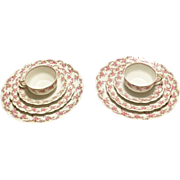 Romantic Antique China Set for Two!  Bridal Wreath Pattern, Bawo and Dotter Elite Works of Limoges, France - Higgins & Seiter, New York
