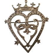 1845 Hallmarked Sterling silver Victorian heart and crown brooch
