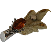 Antique Sterling Silver Scottish Grouse claw brooch