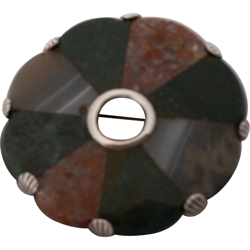 Scottish Agate and Sterling Silver Circle Brooch