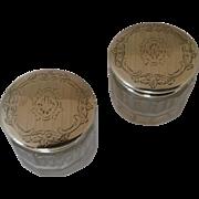 Alvin Sterling Silver Crystal Vanity Jars
