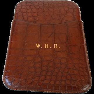 English Crocodile Cigar Case with Gold Initials