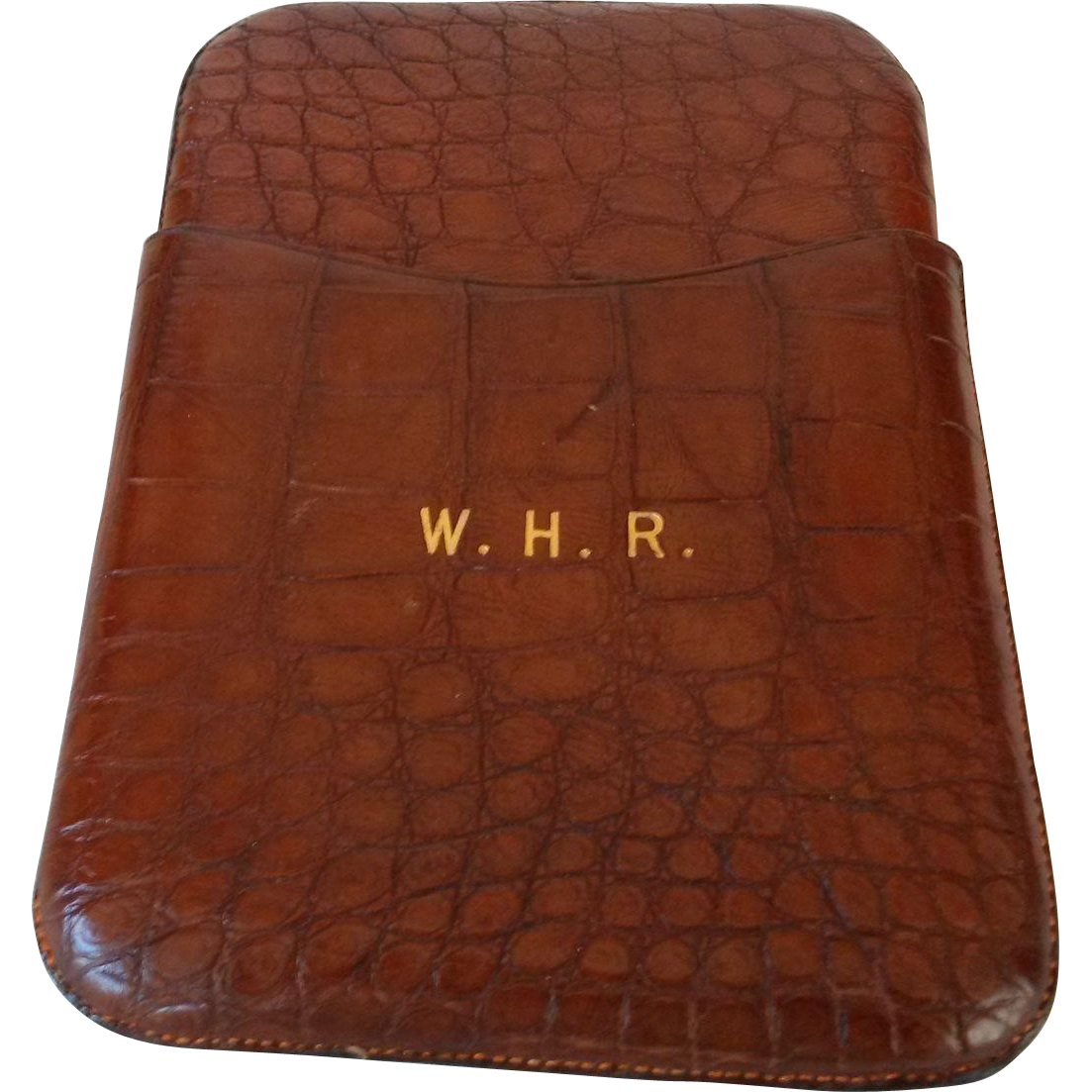 English Crocodile Cigar Case with Gold Initials