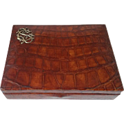 Edwardian Crocodile Jewelry Box with Initials
