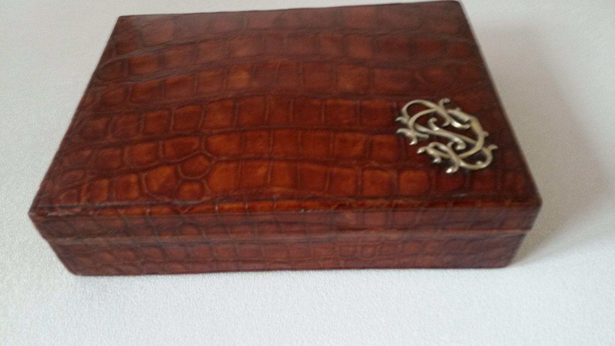 Edwardian crocodile jewelry box with initials from oscar1 for Jewelry box with initials