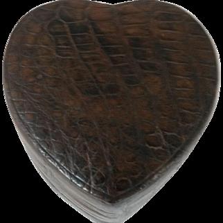 Large Vintage Crocodile Heart Shaped Box