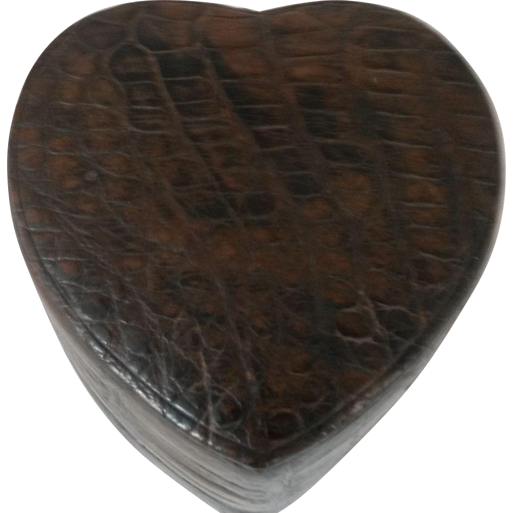 Large Vintage Crocodile Heart Shaped Box