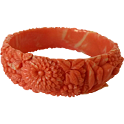 Vintage Celluloid Bracelet in Coral and Cream