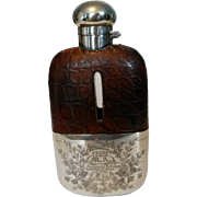 Crocodile and Silver Plated Hand Engraved Flask 1899