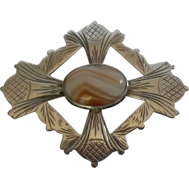 Scottish Sterling Silver and Agate Pin