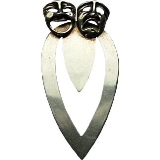 Sterling silver Greek Mask Bookmark