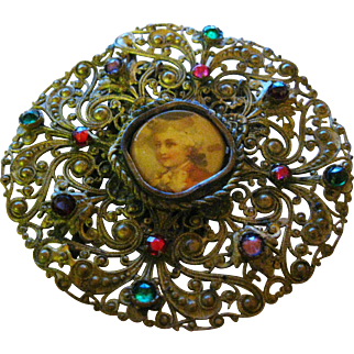 """Antique 1800's Large 2-1/2"""" Brass & Glass Stone Cameo Style Belt Buckle/Brooch"""