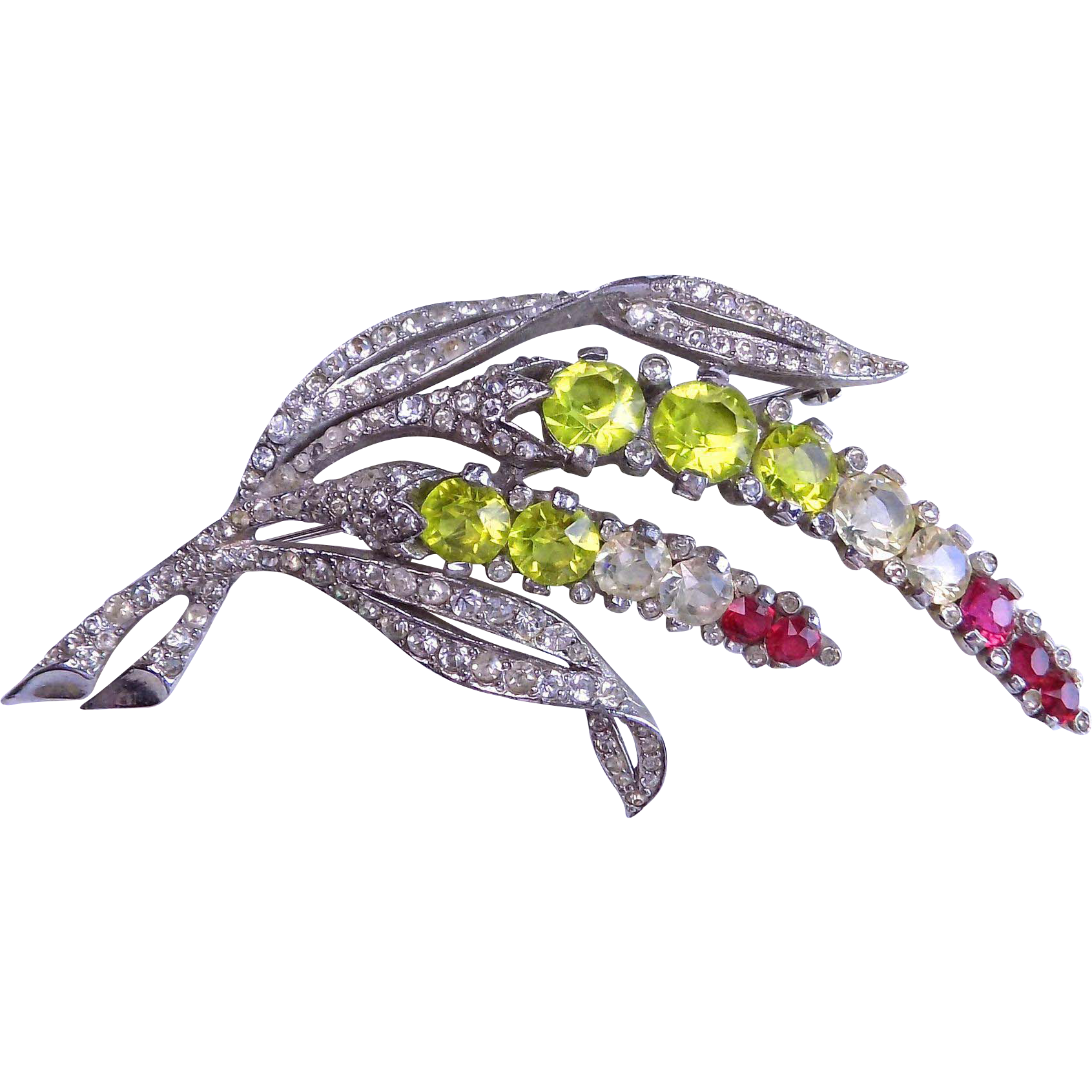 BOUCHER Late 1930's Colored Crystal Pin Brooch