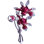 BOUCHER Double Cyclamen Brooch Pin 1940's