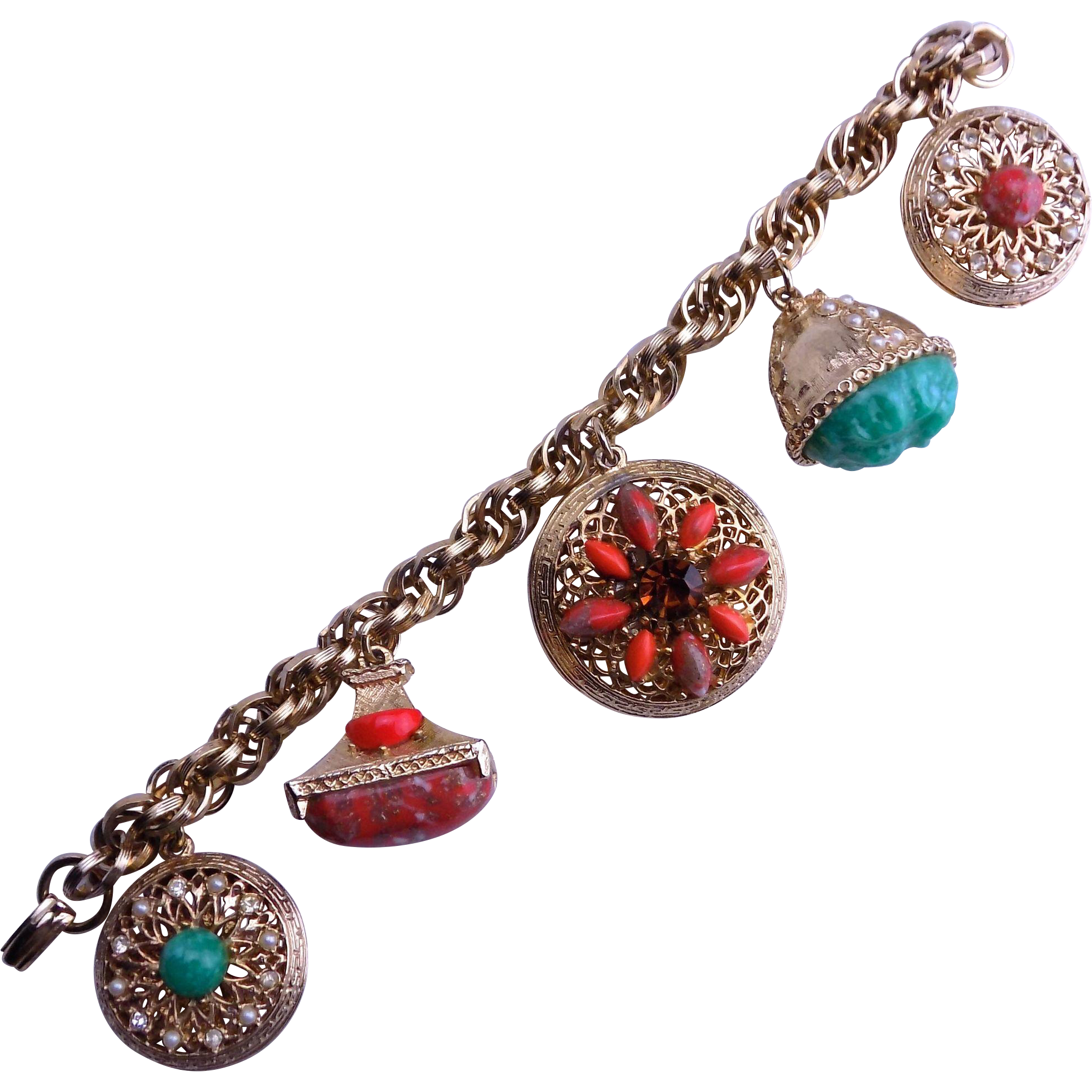 Chunky Charm Bracelets: Chunky CHARM Bracelet With Red And Green Cabochons From
