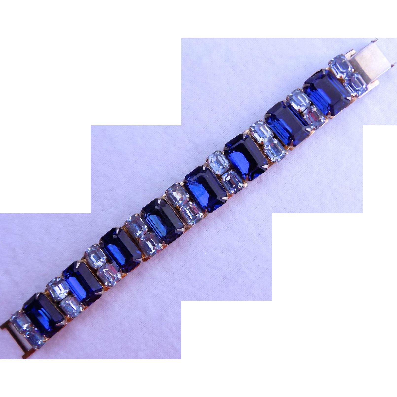 1940's Coro Blue Crystal Bracelet
