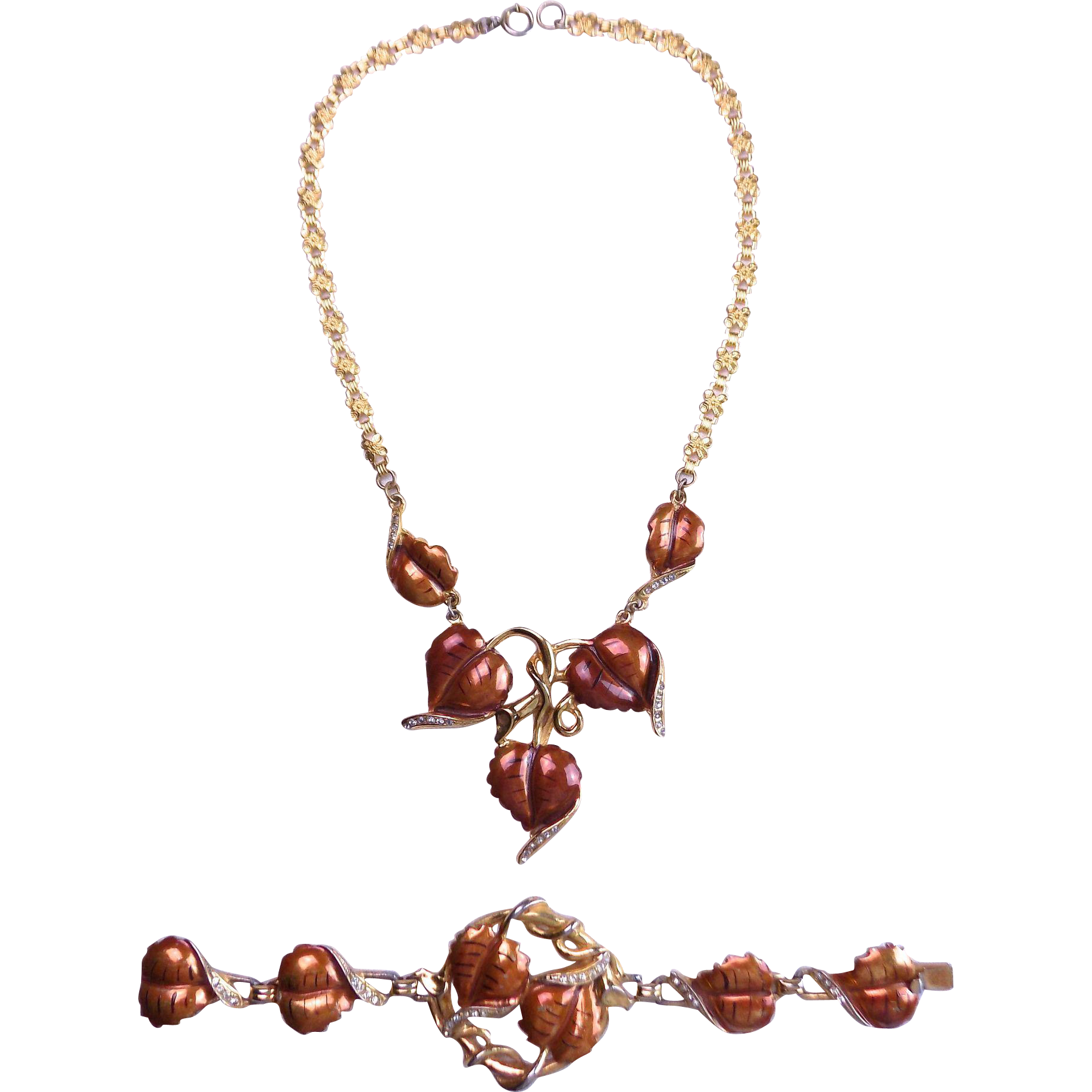 DEROSA Enameled 1940's Necklace and Bracelet