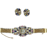 Hobe Jeweled Portrait Bracelet and Earrings
