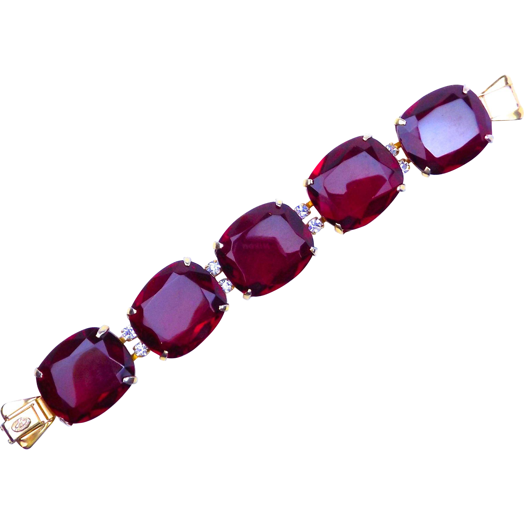 Kramer Bracelet with Huge Red Crystals