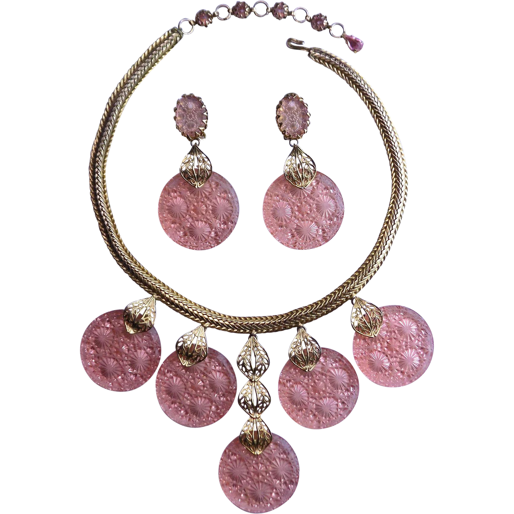 SCHREINER Pink Intaglio Glass Necklace and Earring Set