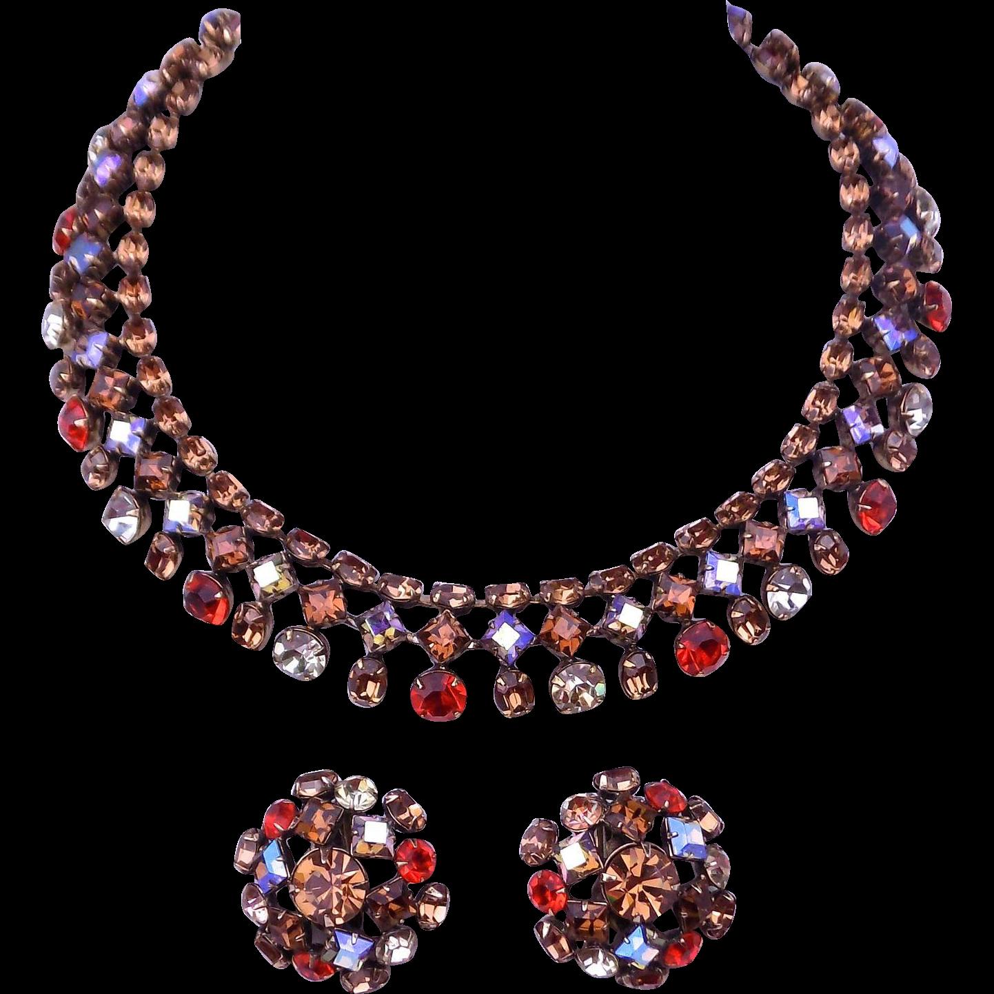 SCHREINER Necklace Earrings Beautiful Stones