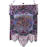 Antique Steel Beaded Scenic Purse