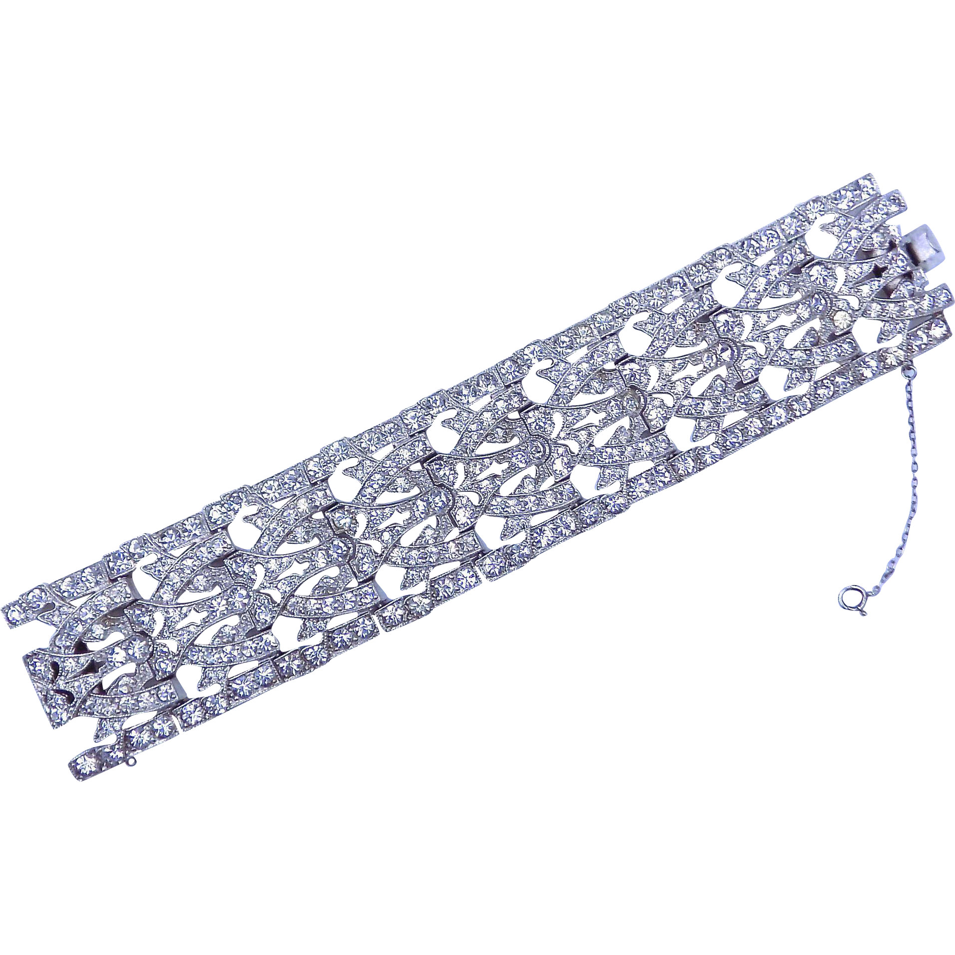 Wide Deco Style bracelet with Rhinestone Crystals