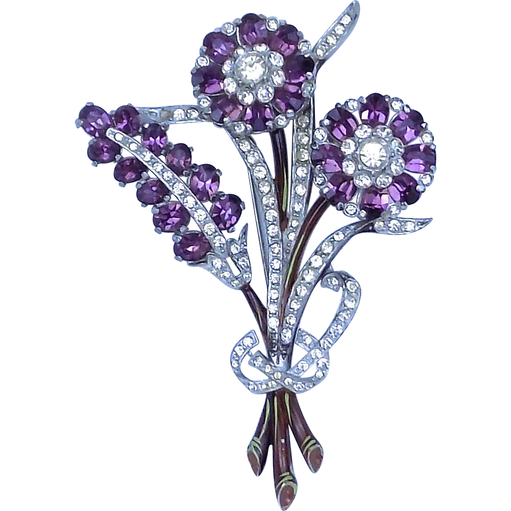 Vintage Floral Pin Brooch with Purple Stones and Enameling