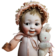"""PRECIOUS! 11"""" #222 """"Our Fairy""""all bisque glass eyes googlie, googly character!"""