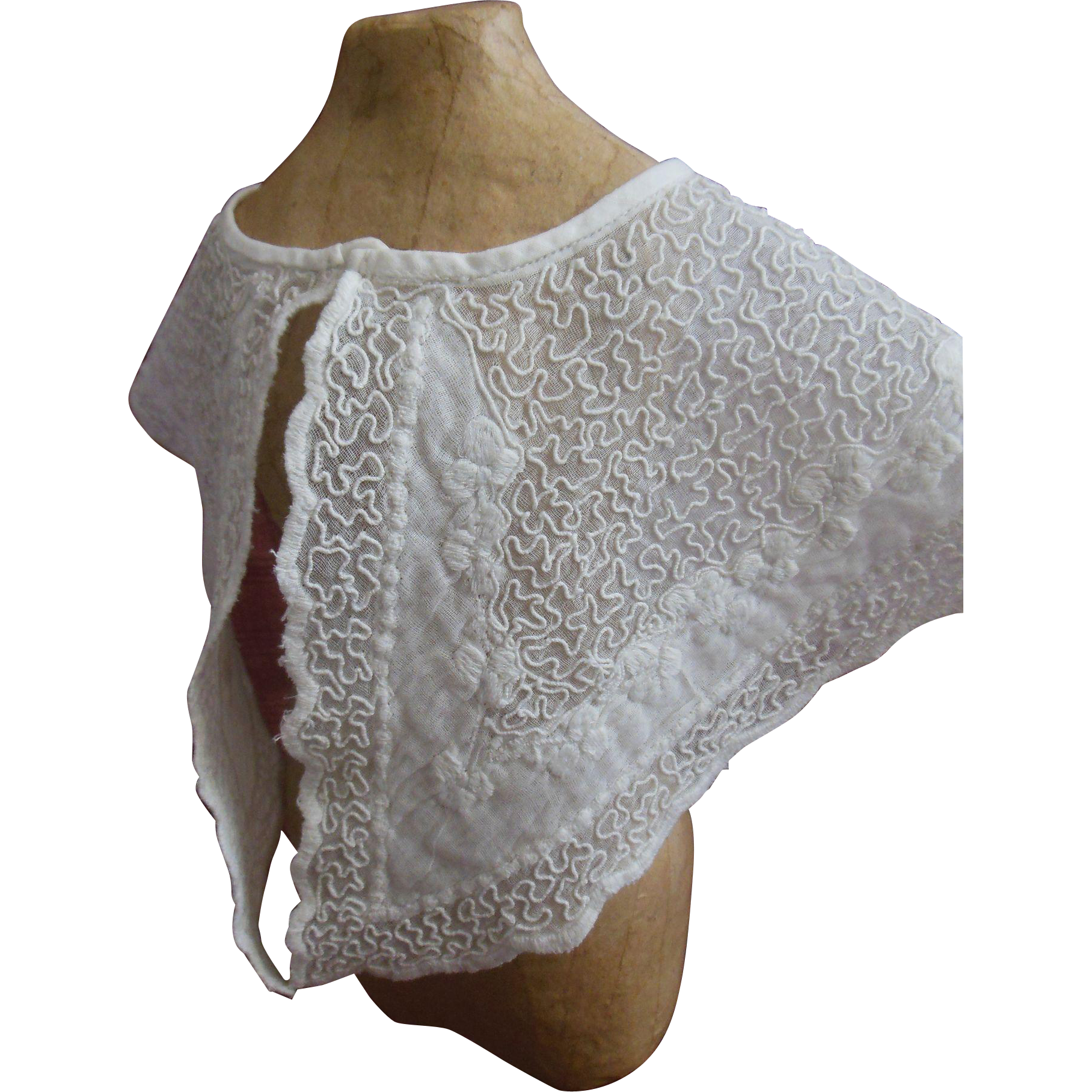 Antique white work embroidered cape for Huret or french fashion doll