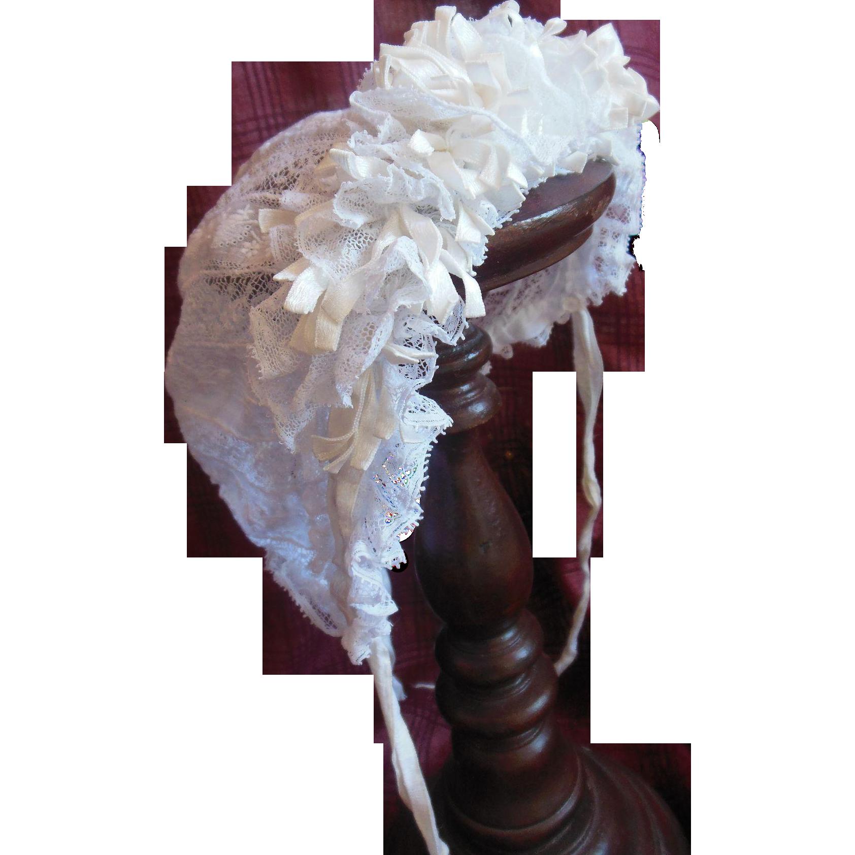 Larger size Antique French lace doll Bonnet