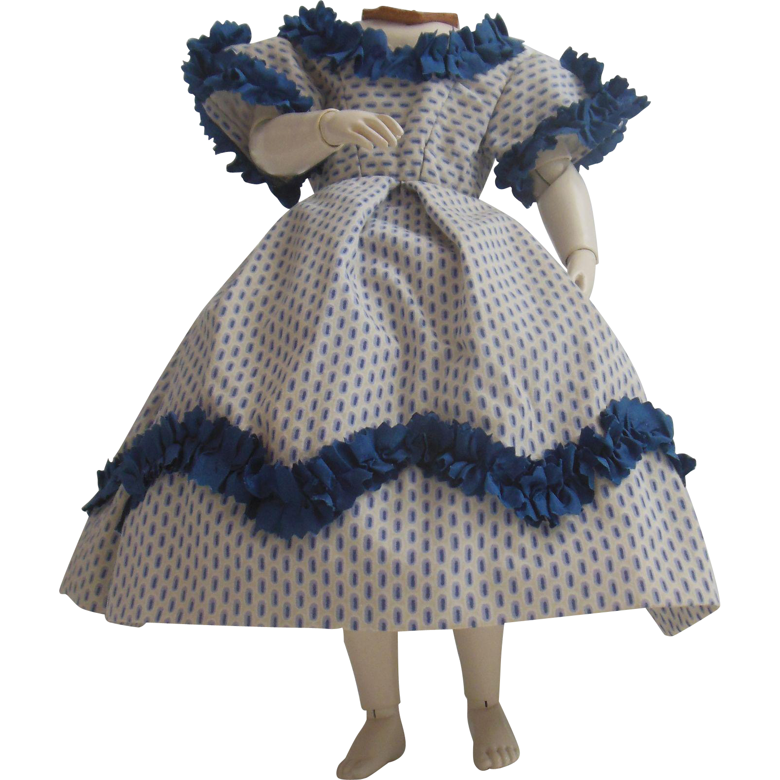 Cotton and silk dress for Huret or early french fashion doll