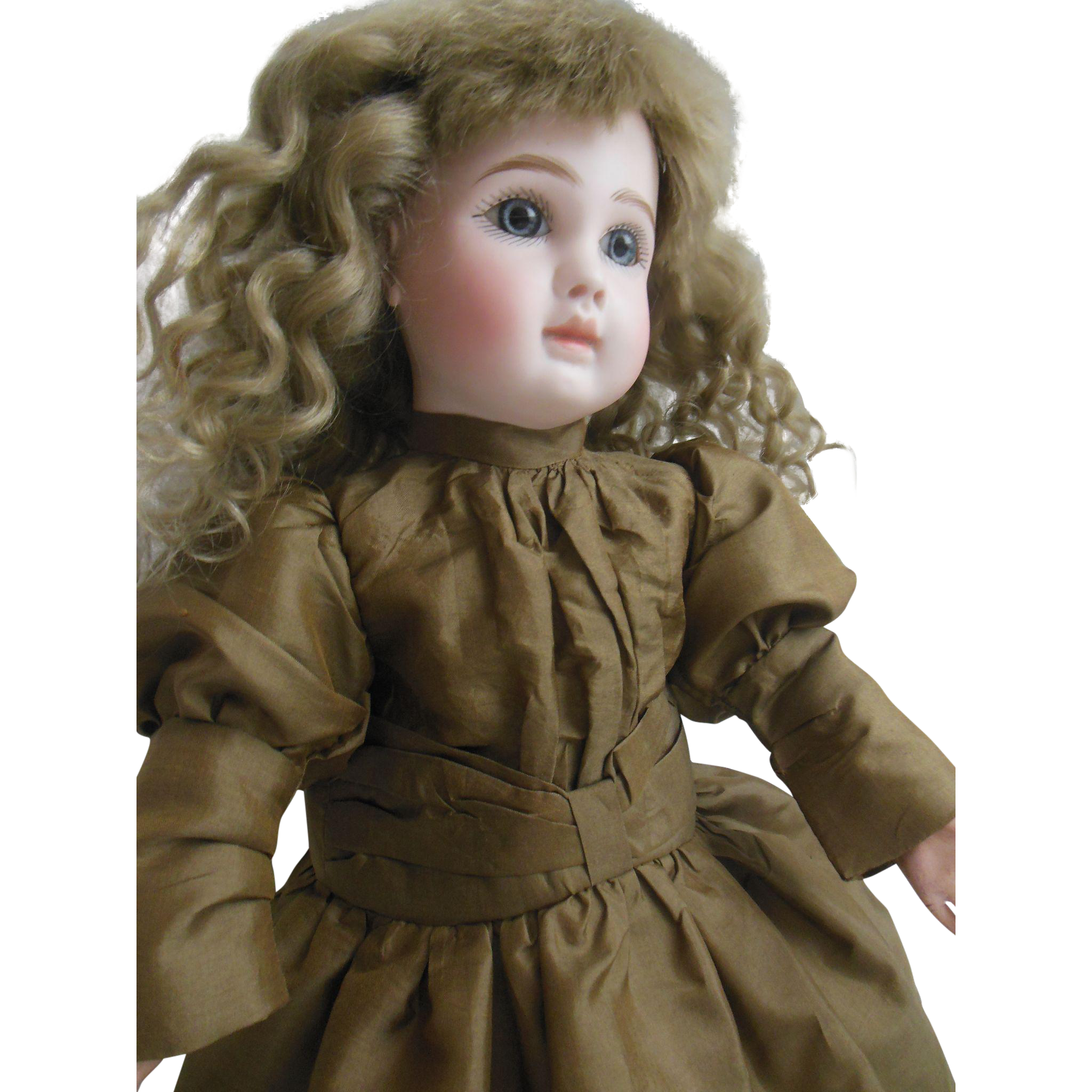 """Olive green silk dress for 18"""" french Steiner or Jumeau bebe"""
