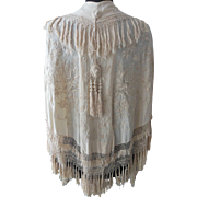 Antique Embroidered  Cream Silk Cape with knotted fringe and tassles