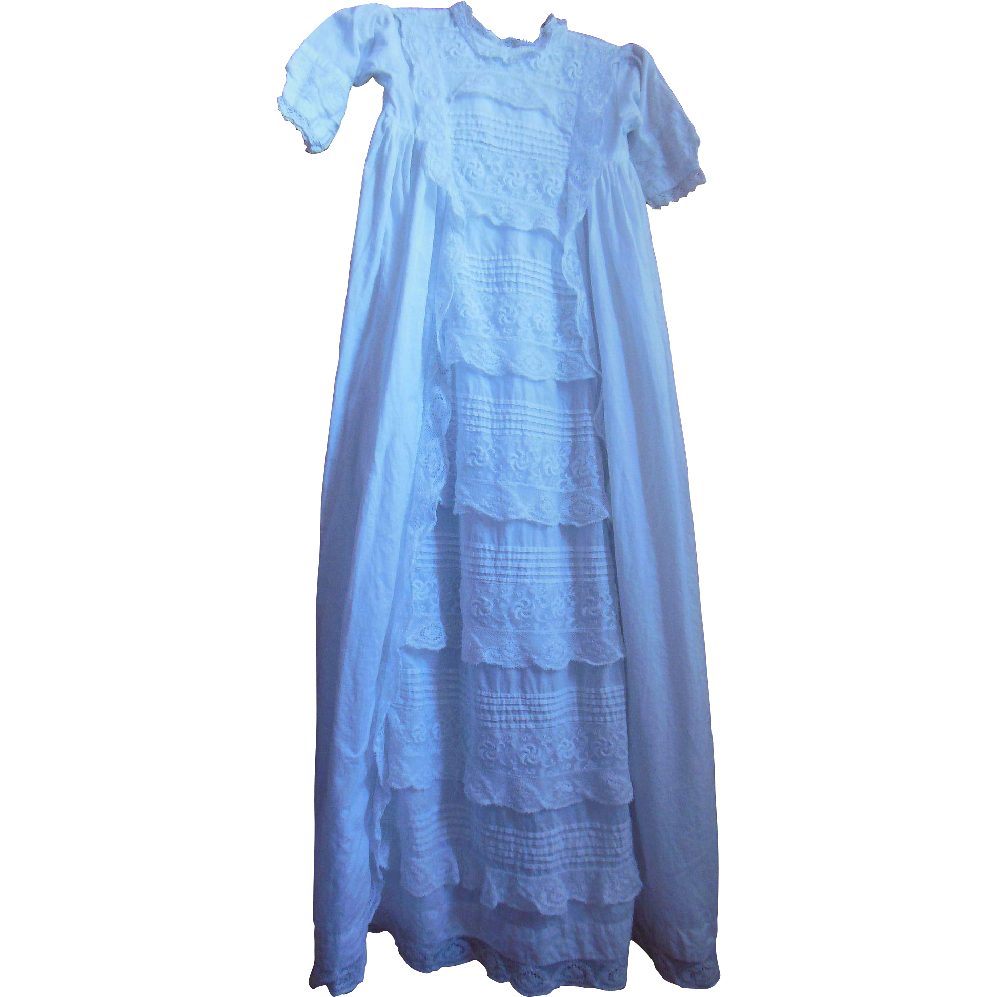 Lovely cotton lace christening gown ca 1900