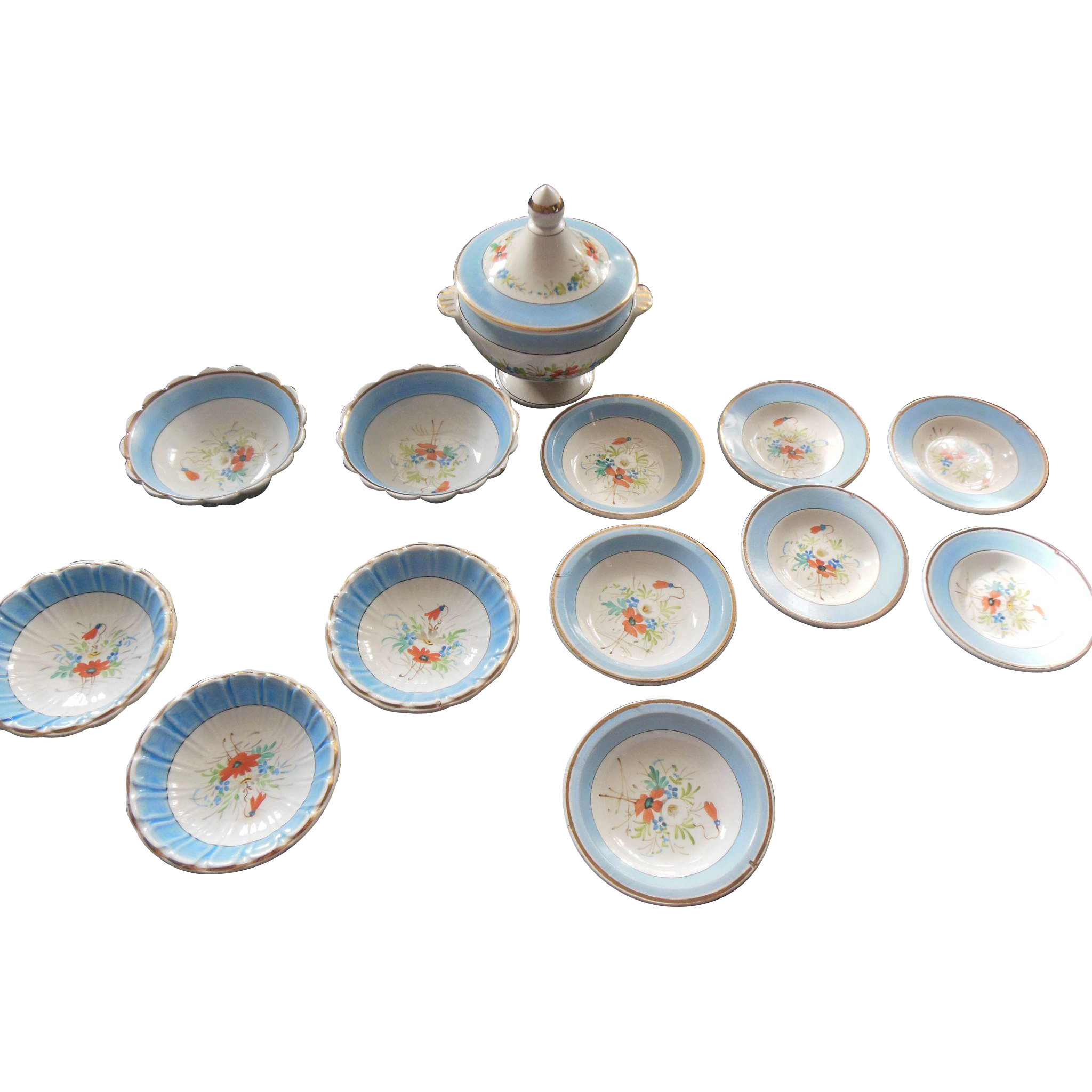 Antique french doll size dinner set hand painted