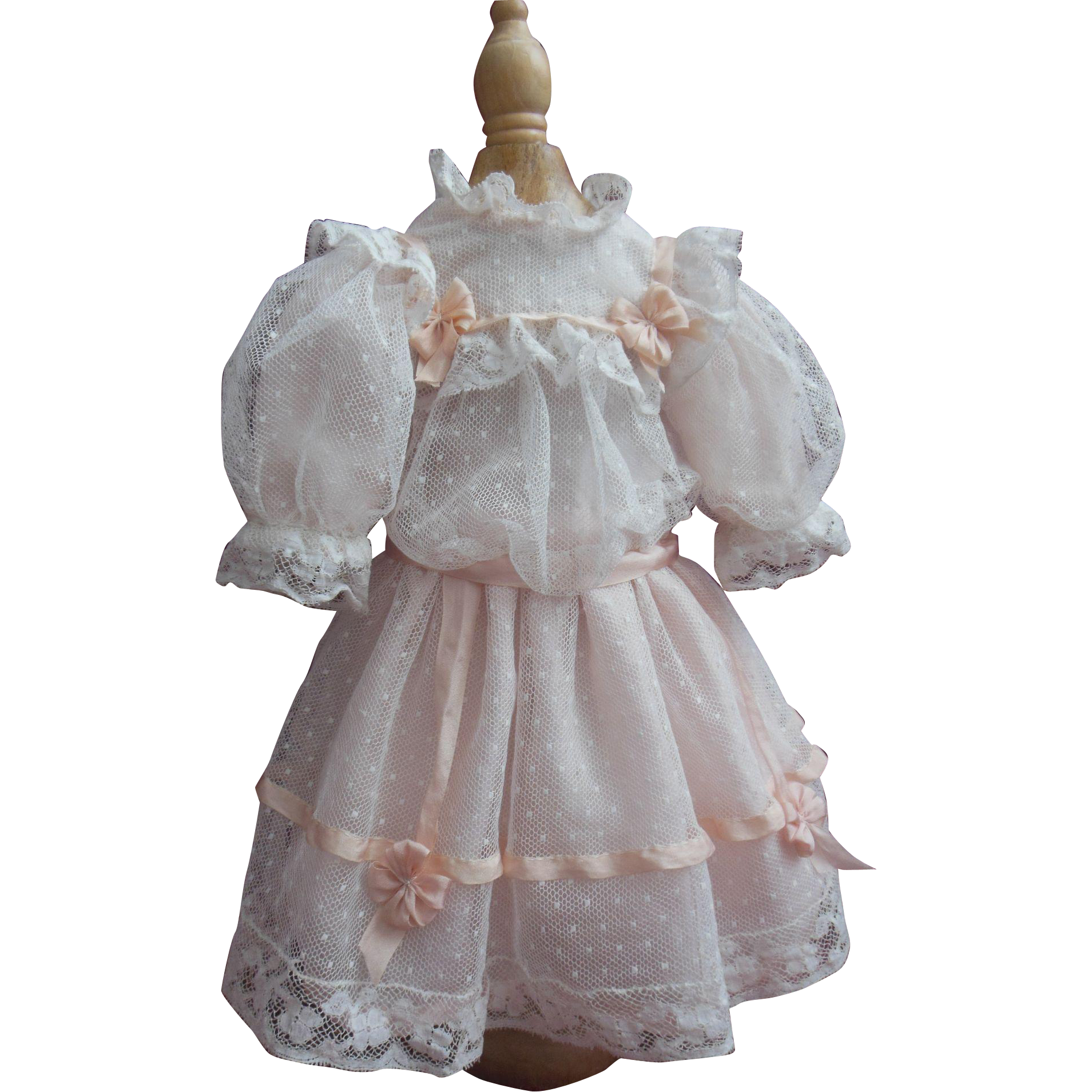 """Silk and tulle dress and bonnet for 16"""" french bebe Jumeau or Steiner"""