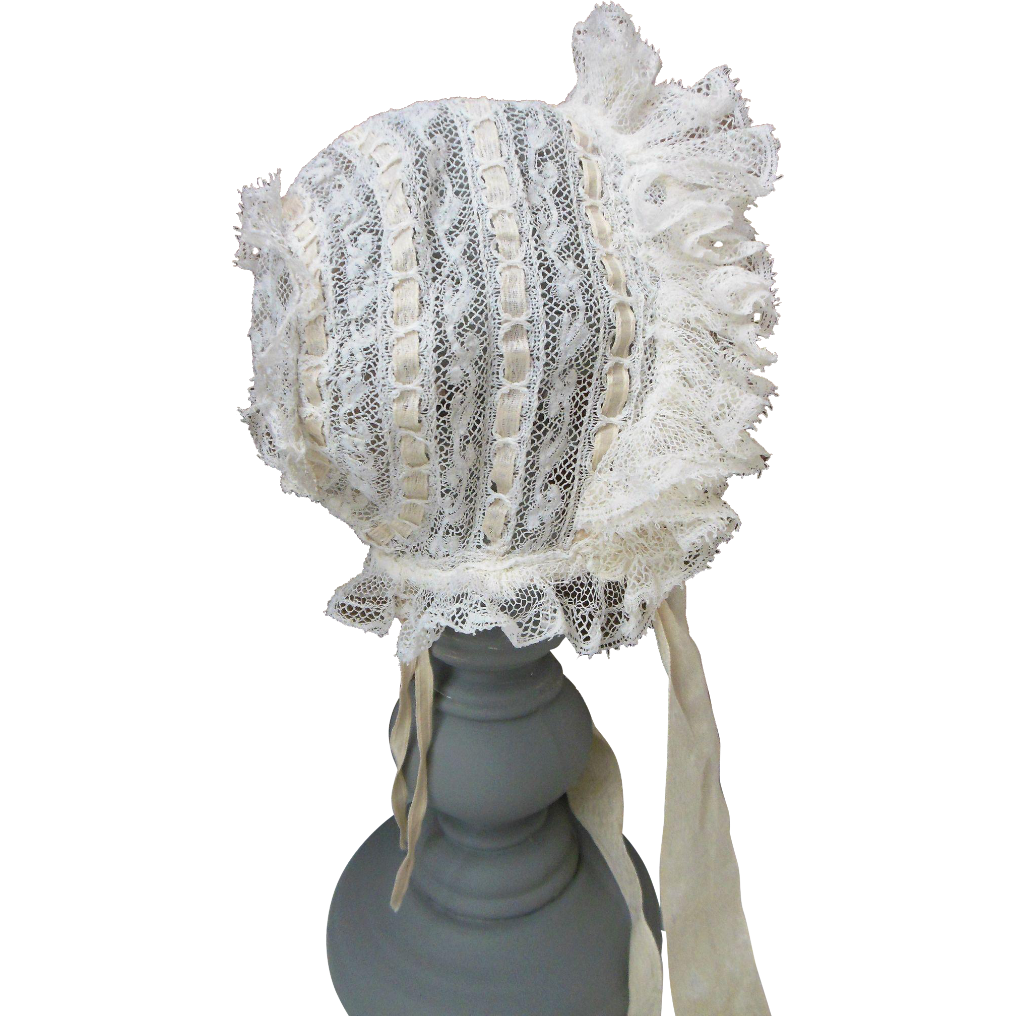 """Antique French Lace doll Bonnet for 18"""" - 20"""" french Jumeau or Steiner doll"""