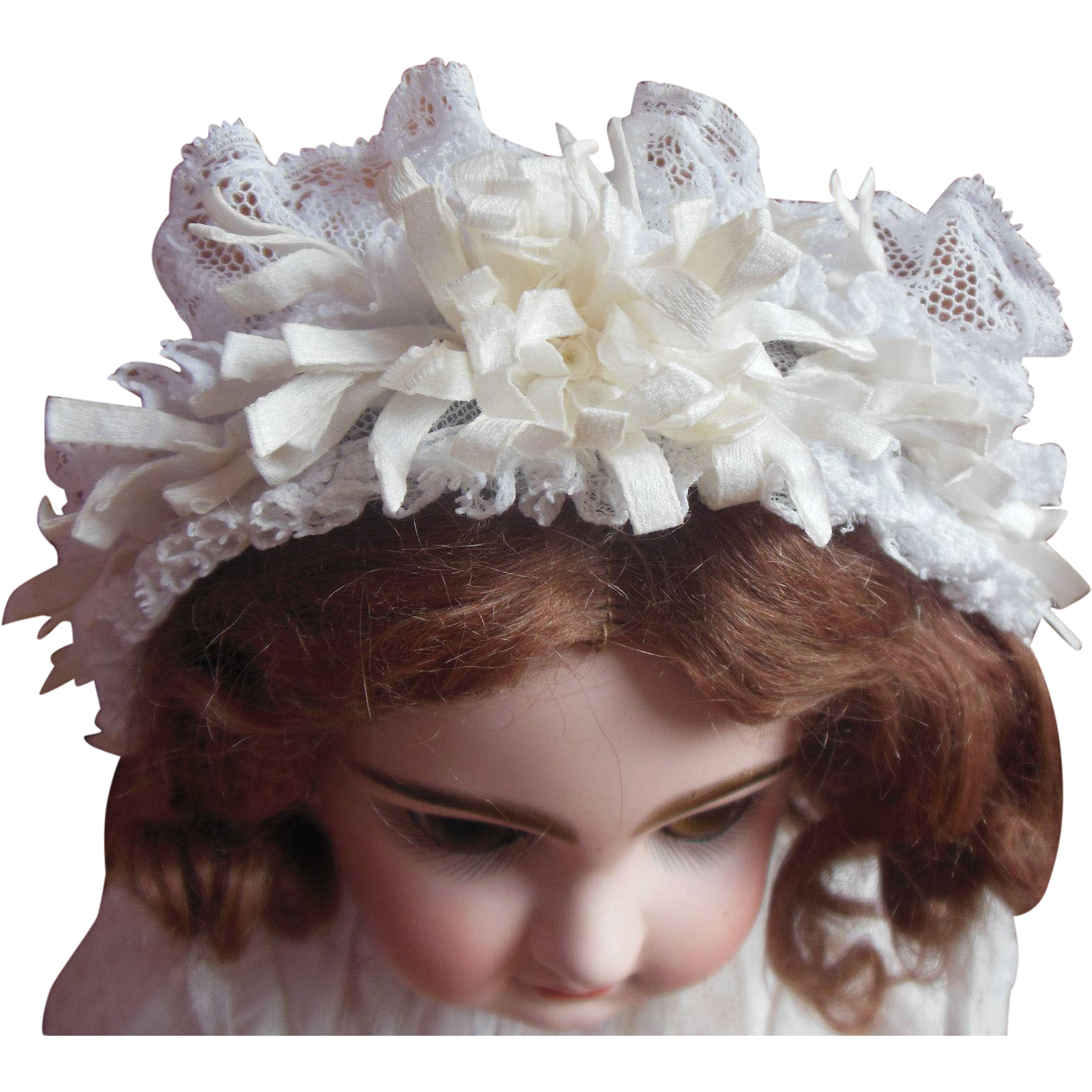 Lovely antique french lace bonnet for size 8 or 9 jumeau doll