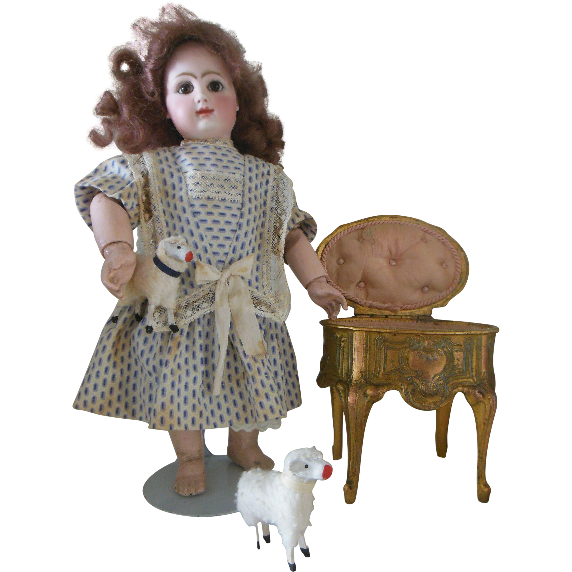 Antique French cast metal trinket or jewelry box for cabinet size doll