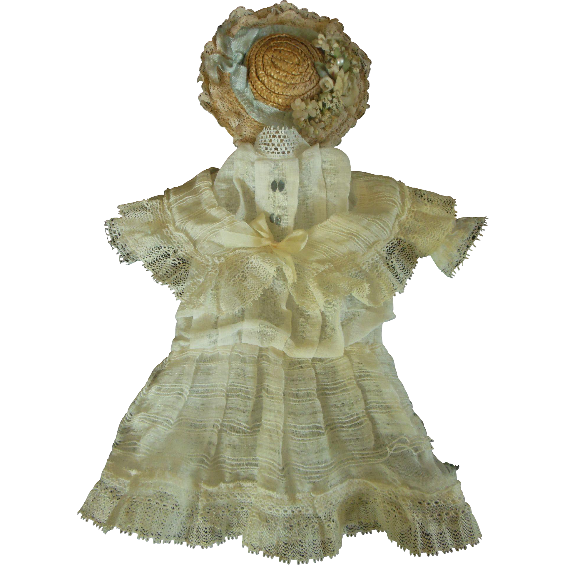 All original antique dress and straw hat for german bisque head doll