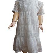 lovely white plumetis dress for Large doll