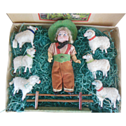 Bisque head mignonette doll shepherd with sheep in original box