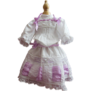 "Whitework cotton dress for 16"" french Jumeau or Steiner doll"