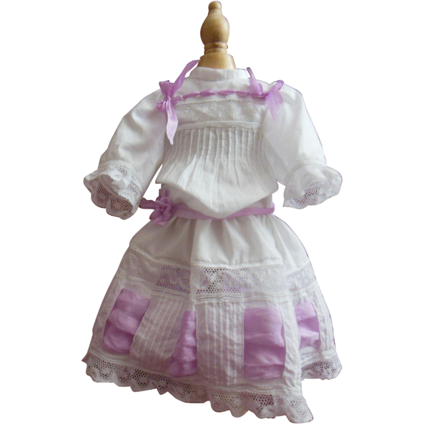 """Whitework cotton dress for 16"""" french Jumeau or Steiner doll"""