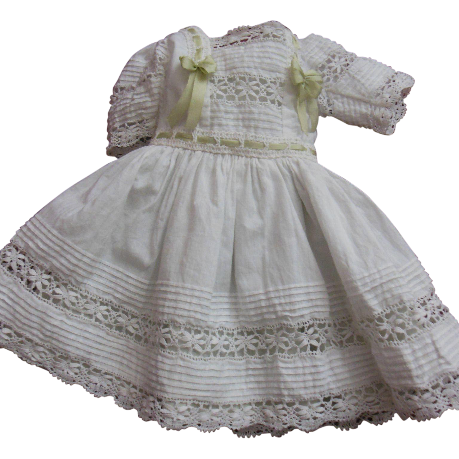 """Square necked whitework dress for 16"""" french Steiner or Jumeau doll"""