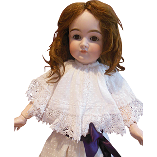 "Wonderful swiss dotted batiste dress with handmade lace and large collar for 23"" doll"
